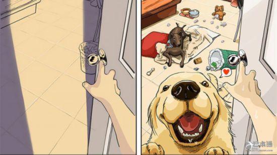宠物 狗狗 插画 生活变化