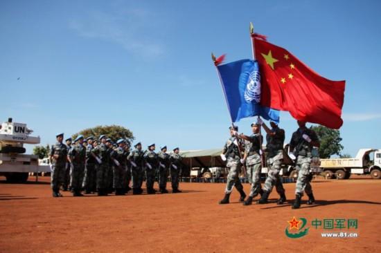 中国赴南苏丹瓦乌维和部队荣获联合国和平荣誉勋章