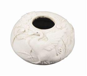 白釉荷塘戏鹅纹雕瓷水盂