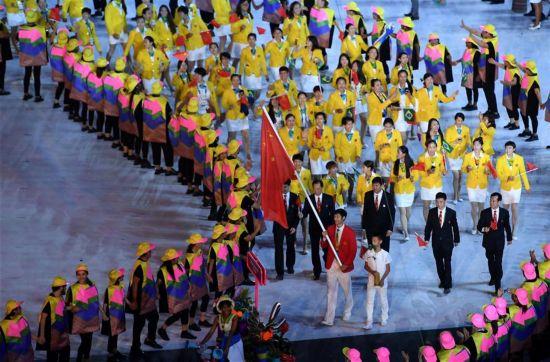 里约奥运会开幕式中国代表团入场 旗手雷声亮相