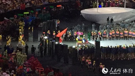 组图:里约奥运开幕式 中国体育代表团入场
