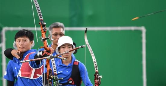 铜牌:中华台北女团获得射箭组图位置--体育--人射箭站立女子图片
