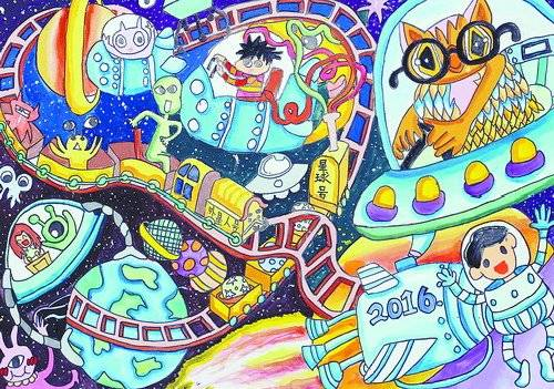 """厦航天主题绘画大赛 两岸青少年比""""脑洞""""(组图)图片"""
