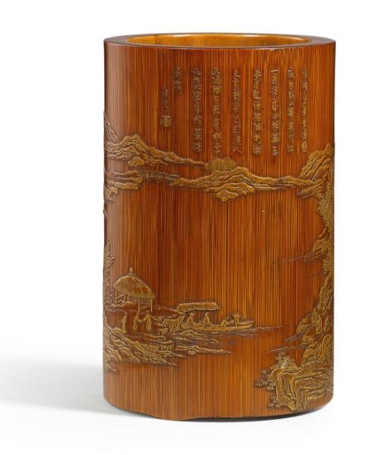"""十七世纪 张希黄制竹雕留青山水楼阁图笔筒    《希黄》款 """"希黄""""印    高 10.6 公分"""