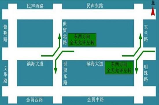 国庆开始海口滨海大道两路口开放左转