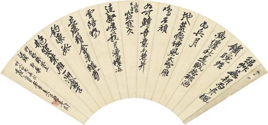 吴昌硕 行书 自作诗 扇轴 RMB12-18万