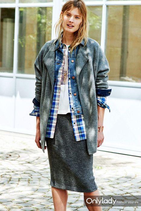 Le-Fashion-Blog-Spring-Layers-Open-Knit-Denim-Jacket-Plaid-Shirt-Graphic-Tee-Grey-Midi-Skirt-Via-Madewell