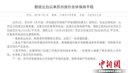 苏州市政府称房价总体保持平稳跌9000元走势图被撤下