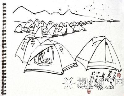 营地简笔画-静默17小时 感知FAST 静旅游