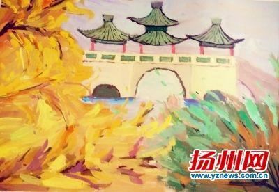 """扬大学生""""彩绘秋景""""走红 史可法纪念馆等入画"""