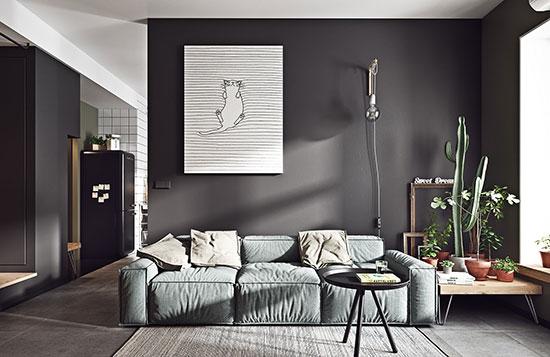 深色系迷你小公寓 令人着迷的复古与雅致