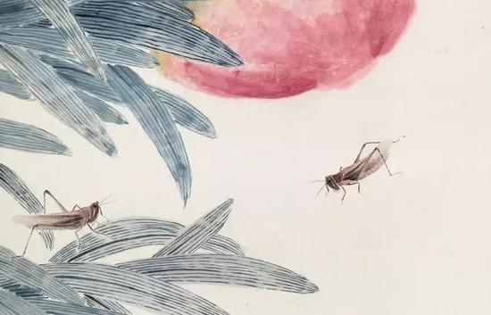 《大寿多子图》中的工笔草虫