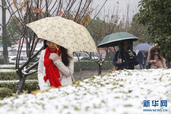 江苏多地迎初雪 雨夹雪飘落金陵城