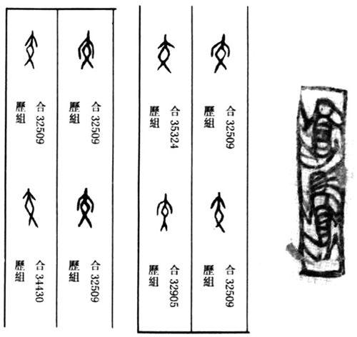 """图6 甲骨文中的""""交""""字与大地湾遗址仰韶文化晚期地画右下方图画-"""