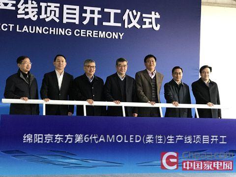 四川省政府相关领导、绵阳市政府领导与京东方董事长王东升(左三)