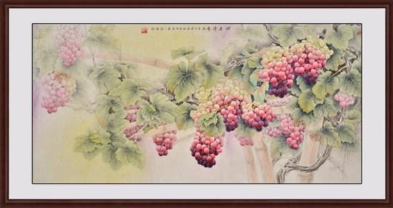 工笔葡萄画欣赏 多子多福风水葡萄图