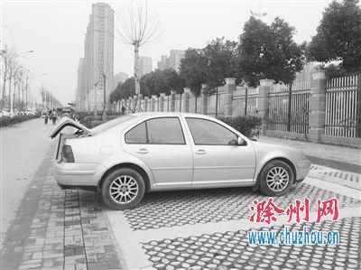 滁城同乐路上的透水砖停车位。记者 王琼 摄