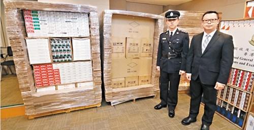 香港农历新年前打击私烟检获价值710万货物拘捕8人