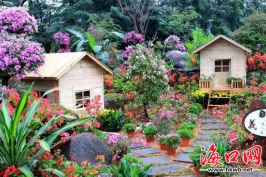 通过花卉花艺结合小品构筑物等方式