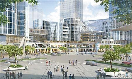 口将建380米地标 重庆中心 修建十字平交分流主干道交通图片