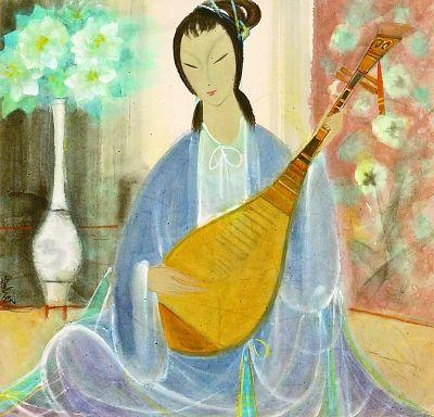 林风眠《琵琶仕女》,1960年代,66×68cm,中华艺术宫藏