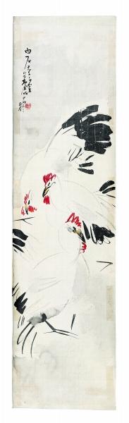林风眠《鸡图》,1931年,166.5×44cm,北京画院藏