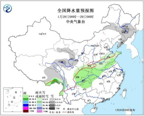 图3 全国降水量预报图(28日08时-29日08时)