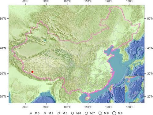 西藏日喀則市仲巴縣發生5.0級地震震源深度8千米