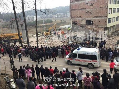 温州民房倒塌:两间民房内有人在家被埋 尚无人获救