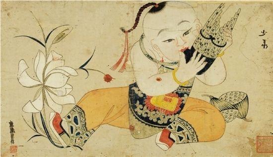 熙 连生贵子 杨柳青古版年画 30.5*50cm 中国美术馆藏-畅谈年画言旧