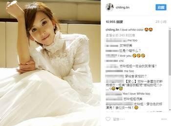 林志玲公开穿白纱自拍照 难道女神在暗示什么?