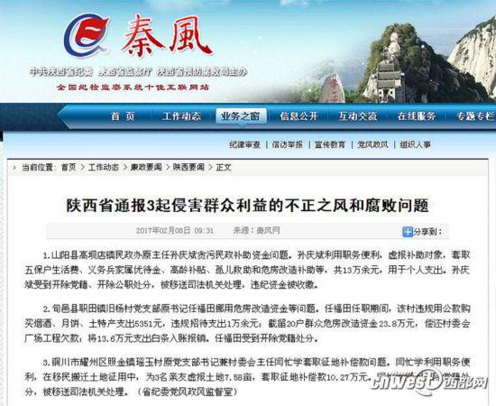 陕西省纪委党风政风监督室通报的3起侵害群众利益的不正之风和腐败图片