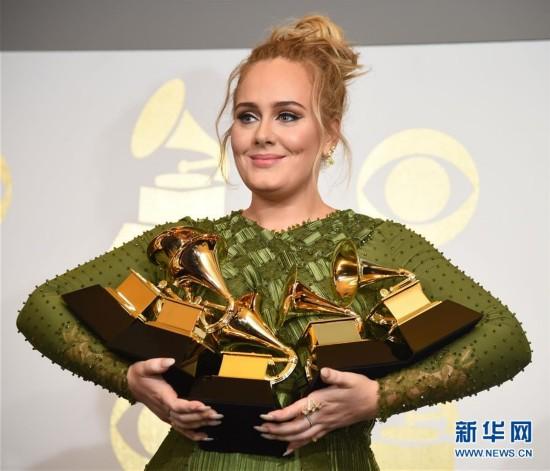 第59届美国格莱美奖揭晓 英国歌手阿黛尔揽5项大奖