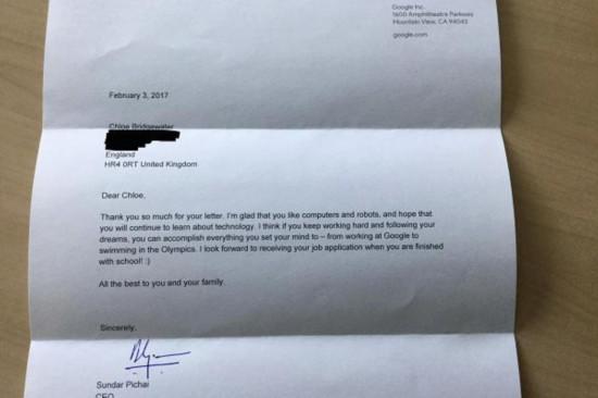 7岁女孩写信向谷歌求职 CEO皮查伊回信:期待毕业后见