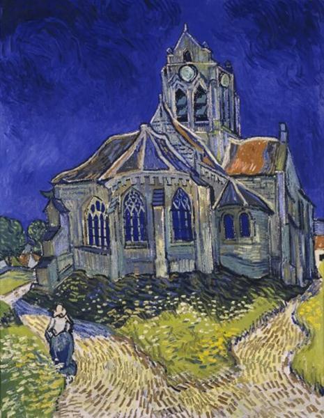 ▲梵高《奥维尔教堂》中的教堂也被风雨破坏。