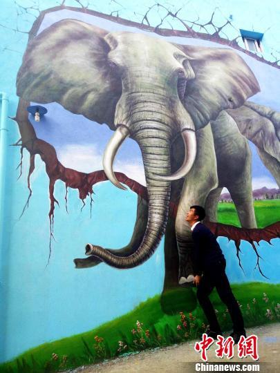 大象3D画。 吴苏梅 摄