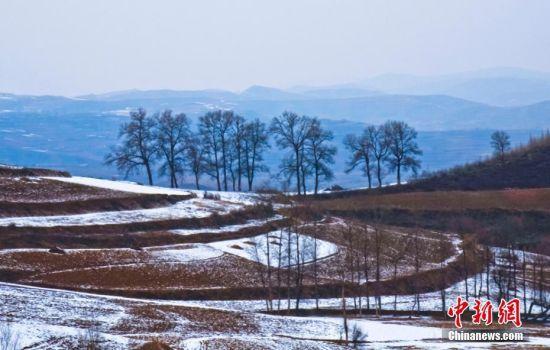 黄土高原渭河畔迎首场春雪 白雪落日景色如画