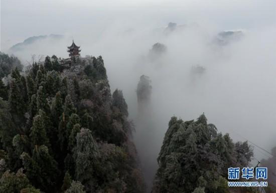 这是2月22日拍摄的张家界黄石寨景区.-雾 冰挂扮美张家界 高清组图图片