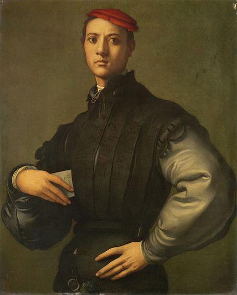 """彭托莫作于1530年的""""戴红帽的年轻男子肖像"""""""