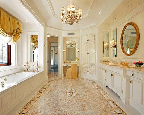 典雅奢华 欧式大户型卫浴     古典的纹理花纹装饰出欧式的复古风韵图片