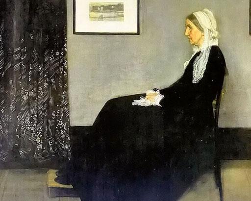 惠斯勒《母亲》。以画家惠斯勒所营造的无边的宁静和寂寞,成为众多歌颂慈母的领头作品。
