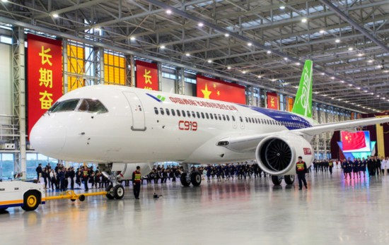 The C919 passenger jet was unveiled as it was rolled out from the final assembly line in Shanghai on Nov 2, 2015. [Photo: COMAC]
