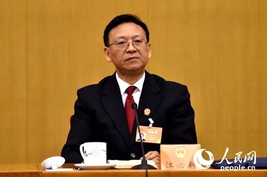 最高人民法院副院长江必新 (人民网记者 翁奇羽摄)