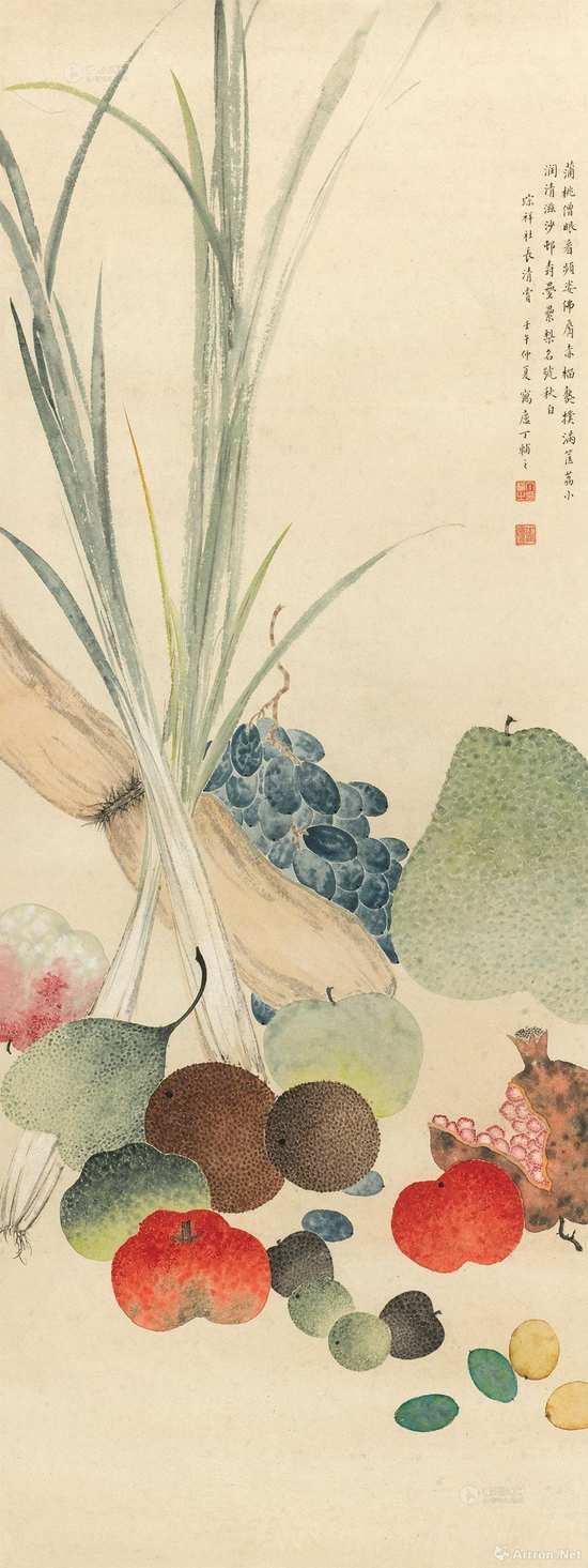 附图4.丁辅之 1942年作 果蔬清供 立轴