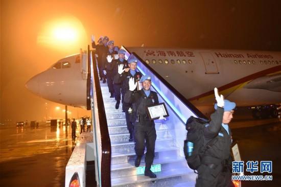 中国第四支赴利比里亚维和警察防暴队凯旋