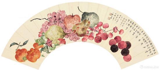 附图11.丁辅之夏日菓品 扇面 镜框(2013年苏富比56.25万港元成交)