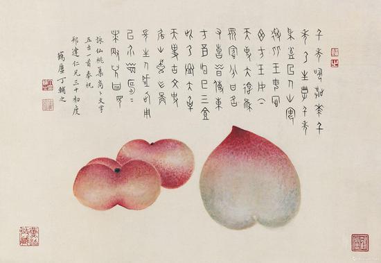 附图9.丁辅之 三桃 立轴,尺幅27×39厘米(2013年嘉德57.8万元成交,为徐邦达三十岁生日而作)