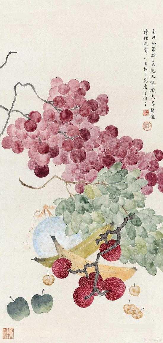 附图12.丁辅之丁丑(1937年)作 鲜果图 立轴 65×31厘米(2013年嘉德43.7万元成交)