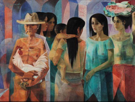 文森・席尔瓦・马南萨拉(Vicente Silva Manansala)《市集》