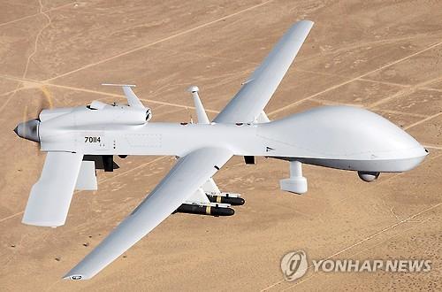"""""""灰鹰""""无人攻击机。(图片来源:韩联社)"""